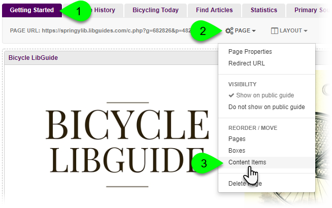 Selecting the option to reorder content items from the Page menu