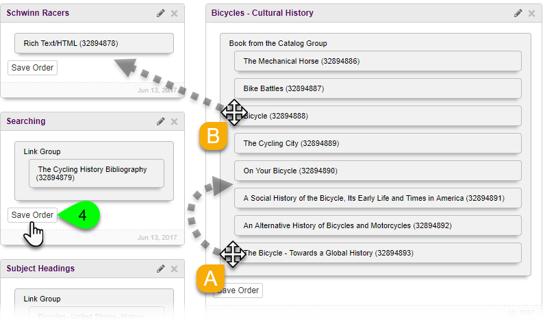Example of reordering and moving content items