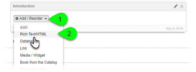 Selecting Rich Text/HTML from the Add/Reorder dropdown