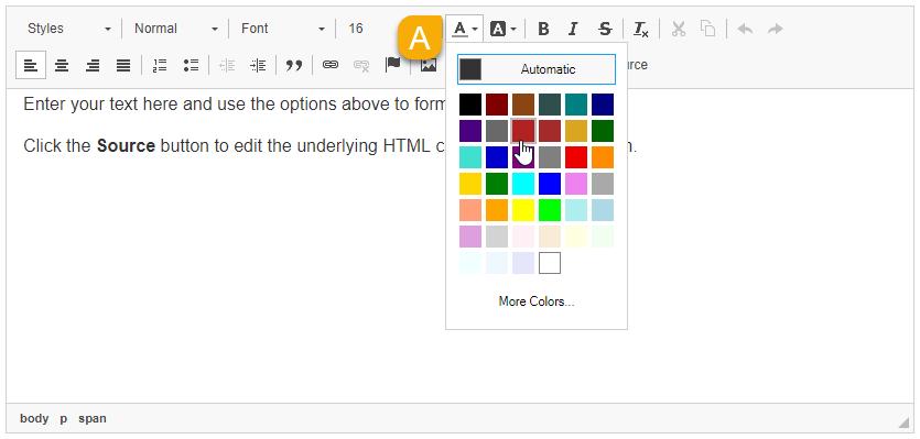Text Color menu
