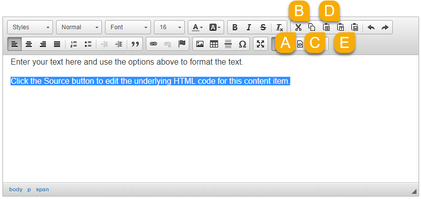 Options to cut, copy, and paste