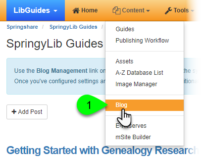 Selecting Blog from the Content dropdown