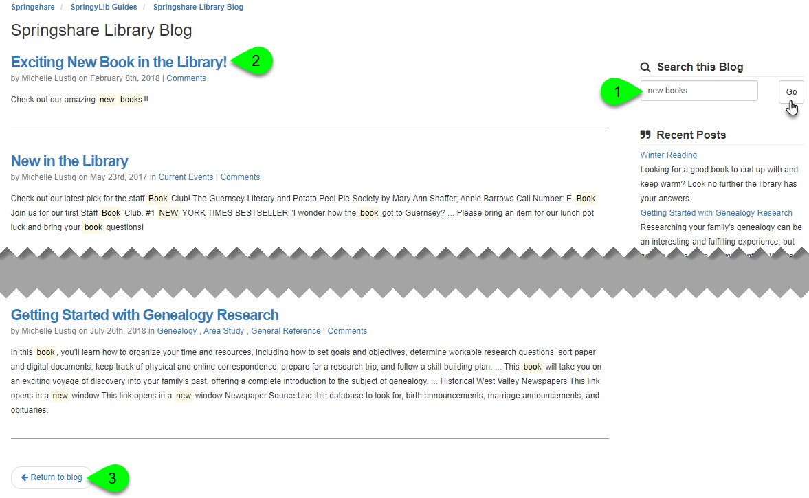 The Search this Blog field and corresponding search results