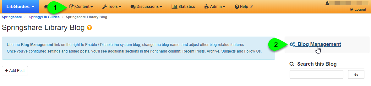 Selecting Blogs from Content menu