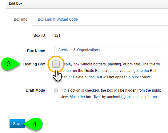 Clicking the Floating Box checkbox