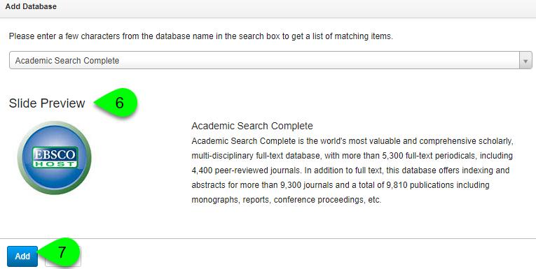 Adding a database slide