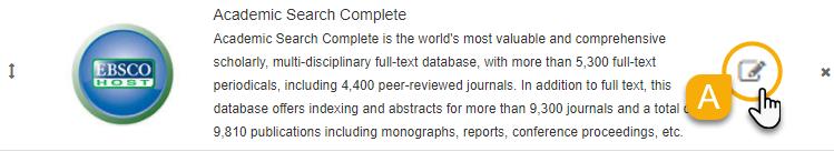 Editing a database slide