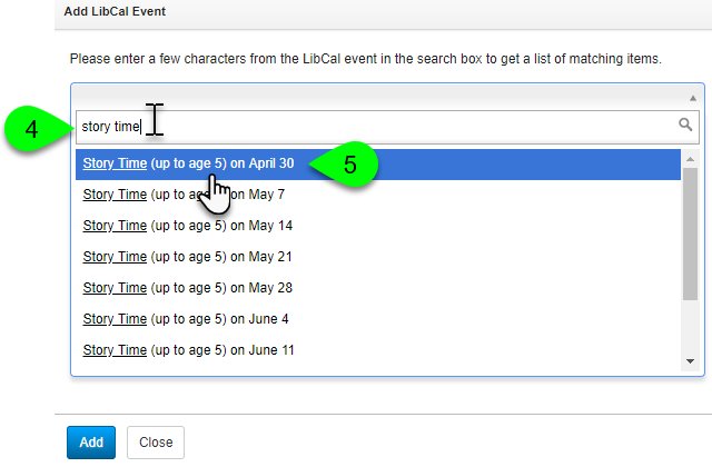 Selecting an event