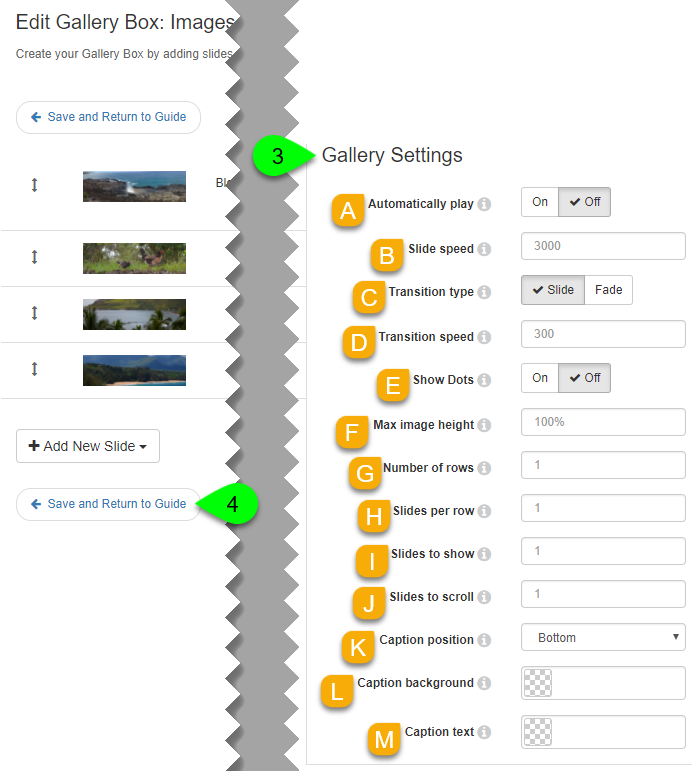 Customizing a gallery box's settings