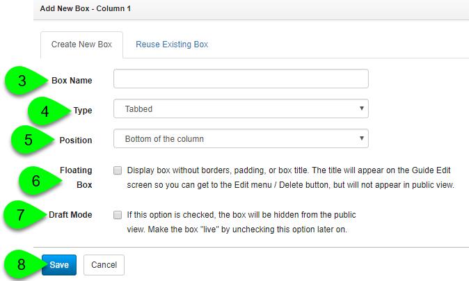 Adding a new tabbed box