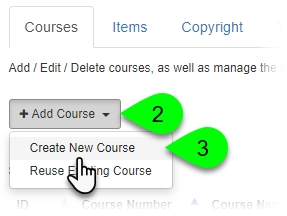Selecting Create New Course from the Add Course dropdown