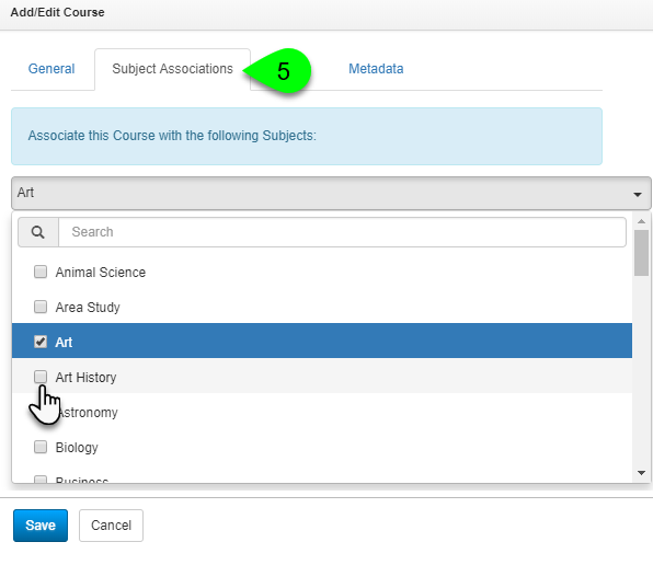 Options under the Subject Associations tab