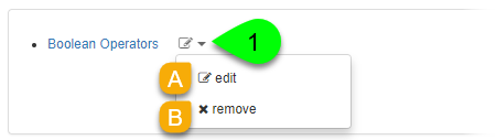 Options to edit or remove an item