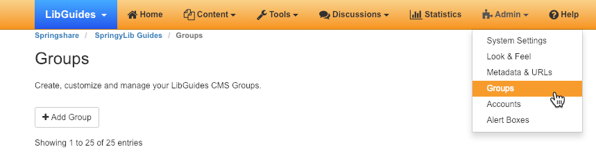 Adding and managing groups in LibGuides CMS