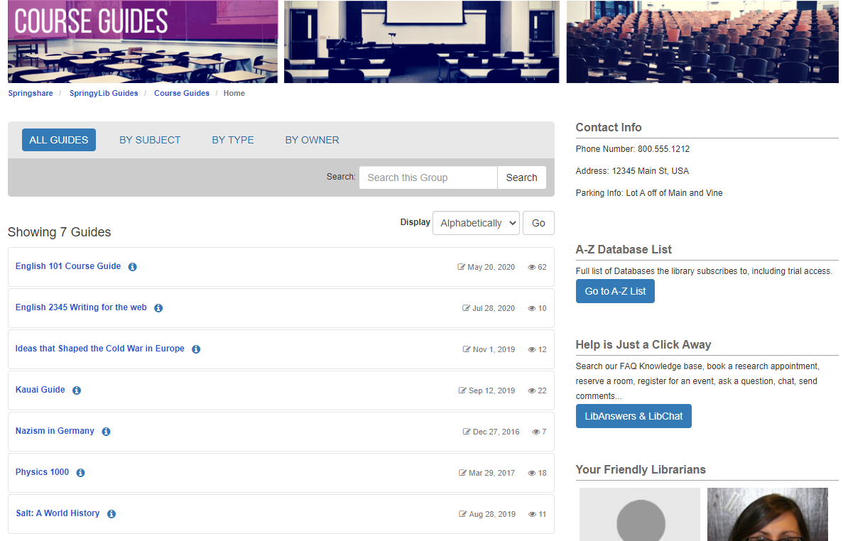 The By Group guide list on the homepage, expanded to show guides in a group
