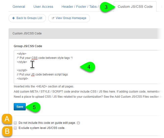 Editing a group's custom JS/CSS code