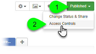 Selecting Access Controls from the Edit Guide dropdown