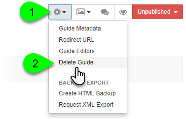 Selecting Delete Guide from the Guide Information menu
