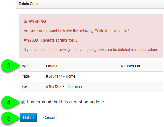 Deleting a guide