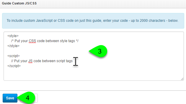 Adding custom JavaScript and CSS code