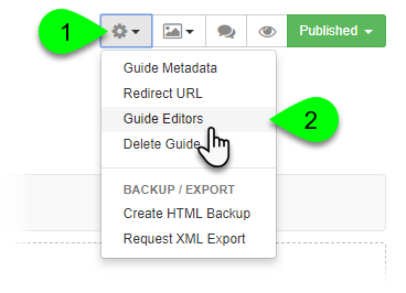 Selecting Guide Editors from the Guide Information menu