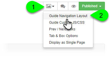 Selecting Guide Navigation Layout from the Guide Layout menu