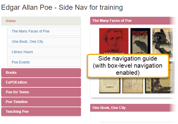 Example of a side navigation layout