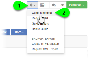 Selecting Guide Metadata from the Guide Information dropdown