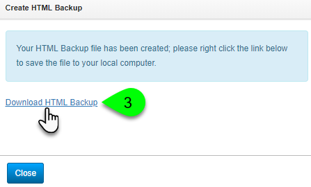 Downloading an HTML backup