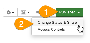 Selecting Change Status & Share from the Edit Guide dropdown