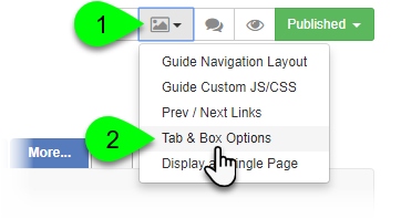 Selecting Tab & Box Options from the Guide Layout menu
