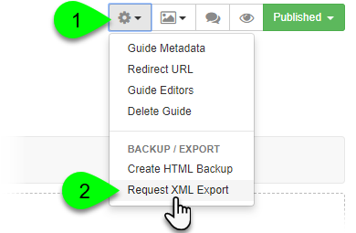 Selecting Request XML Export from the Guide Information menu