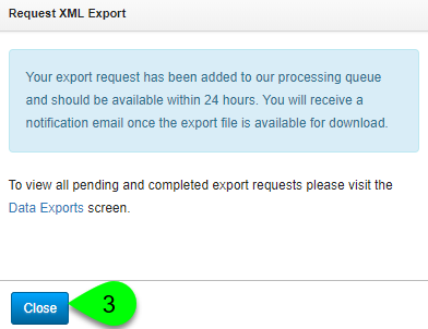 Example confirmation message for an XML export request