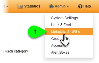 Selecting Metadata & URLs from the Admin menu