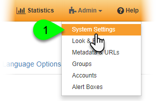 Selecting System Settings from the Admin menu