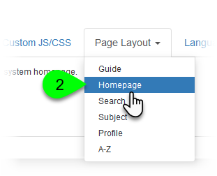 Selecting Homepage from the Page Layout menu
