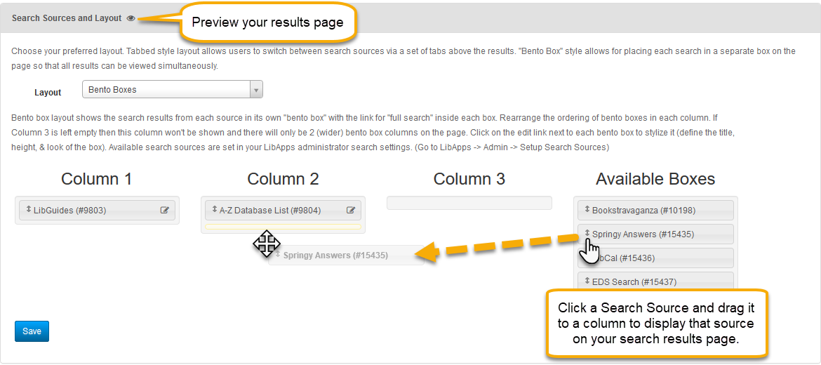 Search Sources Customization: Pointing out the Preview icon in the gray bar and demonstrating dragging a Search Source into a bento column.