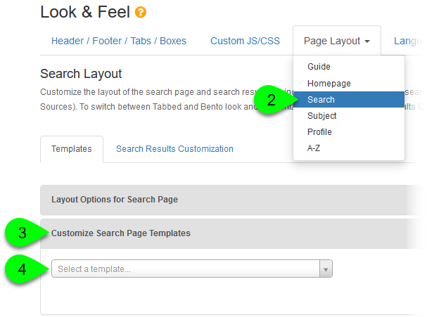 Selecting a search template to customize