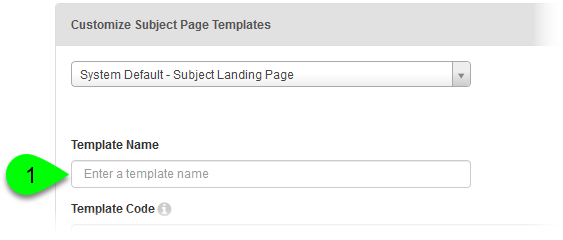 The Template Name field