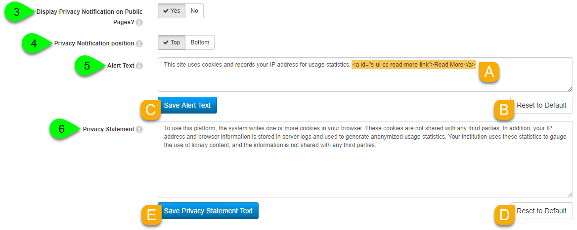 Customizing the user privacy alert
