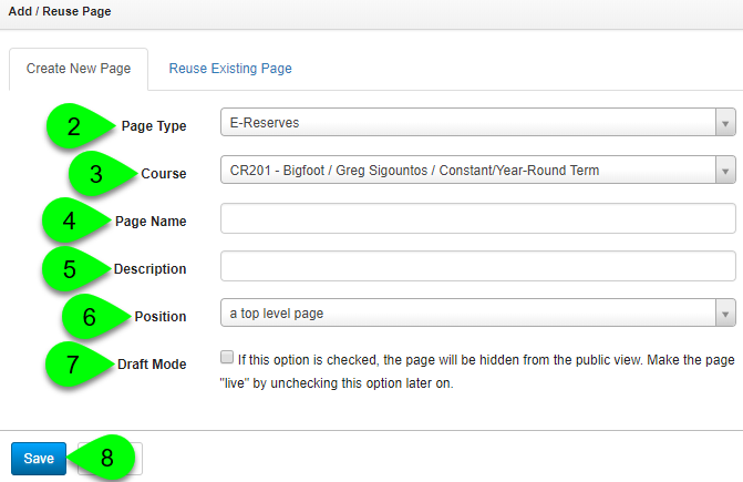 Adding a new E-Reserves course page
