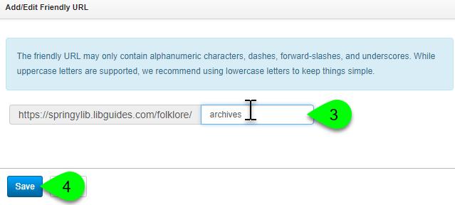 Customizing a page's friendly URL