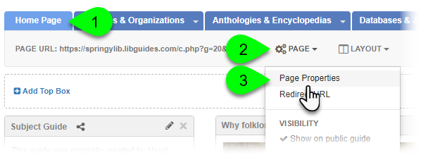 Selecting Page Properties from the Page dropdown