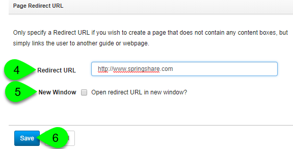 Adding a redirect URL to a page