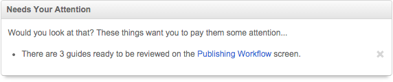 Example of a publishing workflow alert on the dashboard