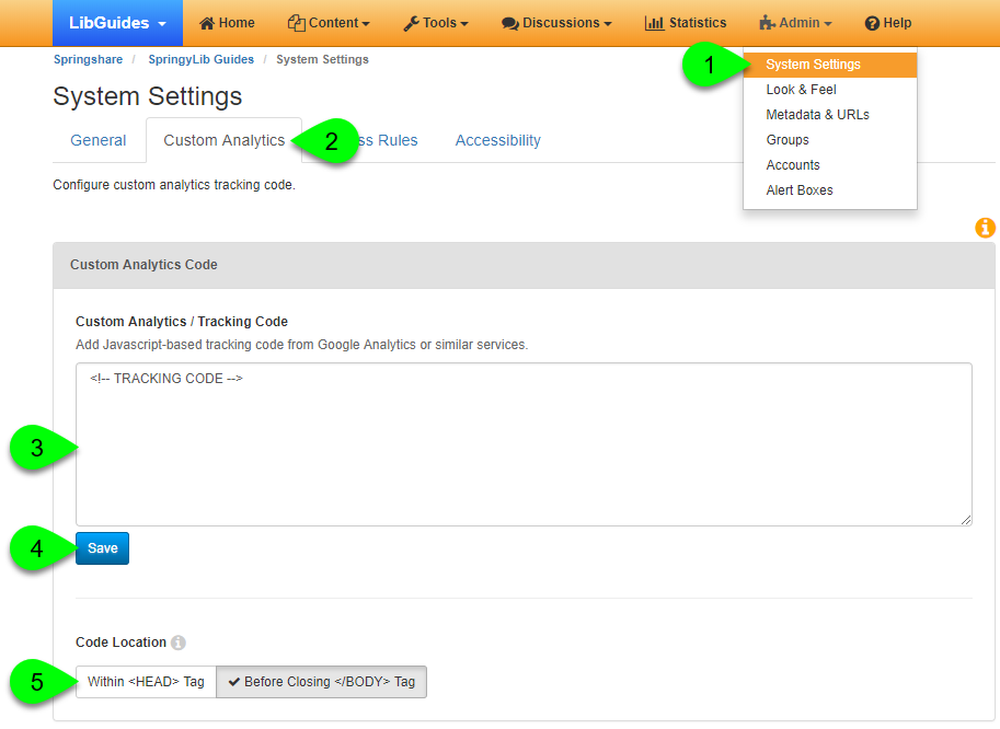 Custom Analytics options