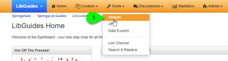 the Widgets option under the Tools menu