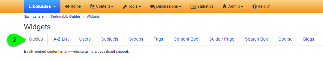 the Guides tab on the Widgets page