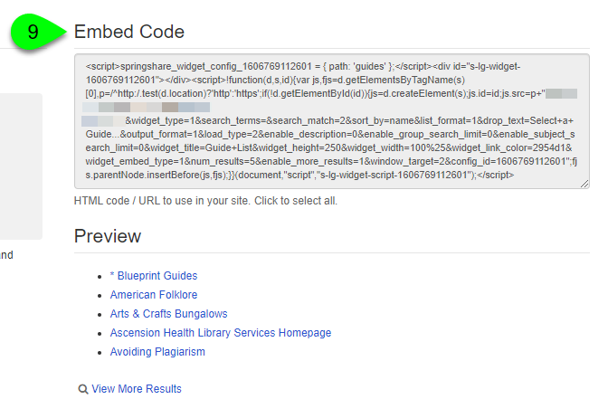 the Embed Code and Preview sections