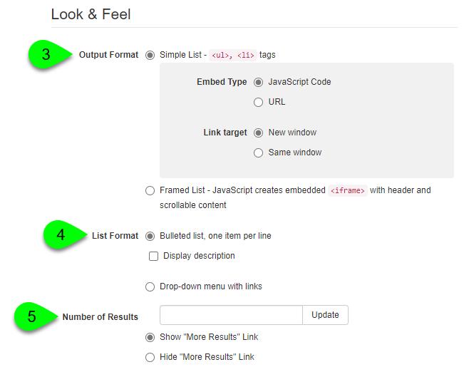Look & Feel options